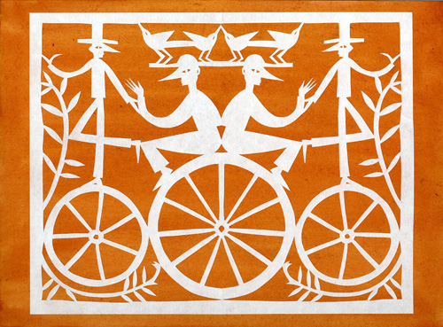 Four Men With Bicycles (papercut)