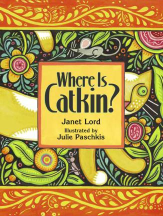 """""""Catkin is on the prowl, ever alert to the sounds and movements that intrigue cats so much. Young children will delight in finding the critters hidden in the folk-style artwork before the calico does, and they will enjoy imitating the sounds each animal makes...There are so many ways to engage with this book that multiple readings are in order."""" School Library Journal"""